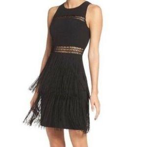 Aidan Mattox Black Size 6 Sheath Fringe Dress